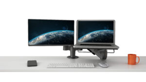 Double Arm - SpaceArm and Laptop Platform Smaller Monitor