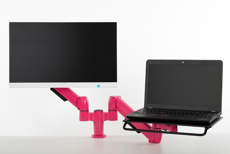 SA012QC-CC-Bespoke Pink & SA01T-Pink-LP-NL with Monitor and Laptop