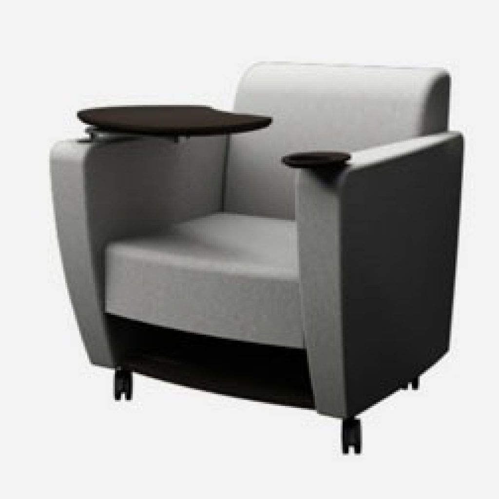 Office lounge chair with tablet arm, cup holder and storage on wheels