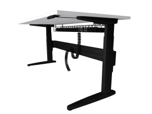 Freestanding straight sit-stand desk with under desk cable management, with site desk surface and black legs