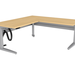 Free standing corner desk with wood work surface and under desk cable management
