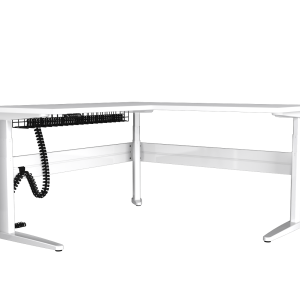 Free standing white corner desk with under desk cable management