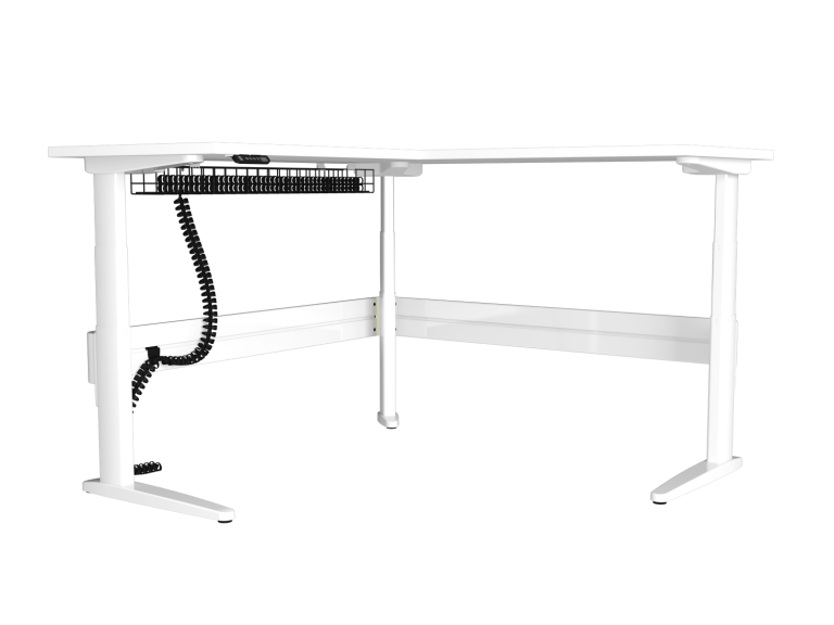 Freestanding white corner sit-stand desk with under desk cable management