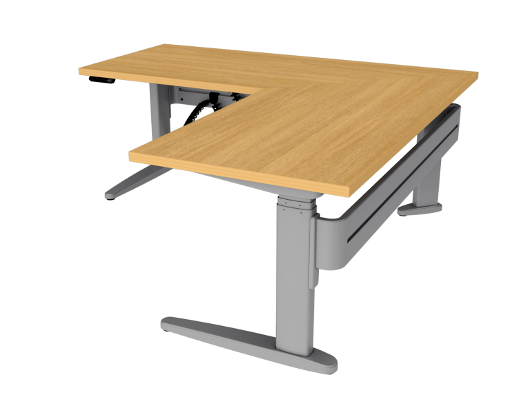 Free standing corner sit-stand desk with wood work top and platinum desk legs