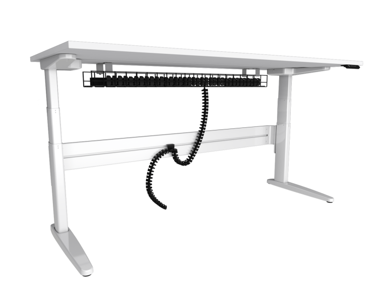 Freestanding white straight sit-stand desk with under desk cable management