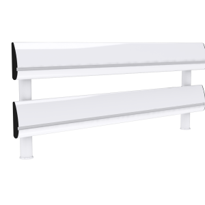 Two tier white SpaceBeam tool rail