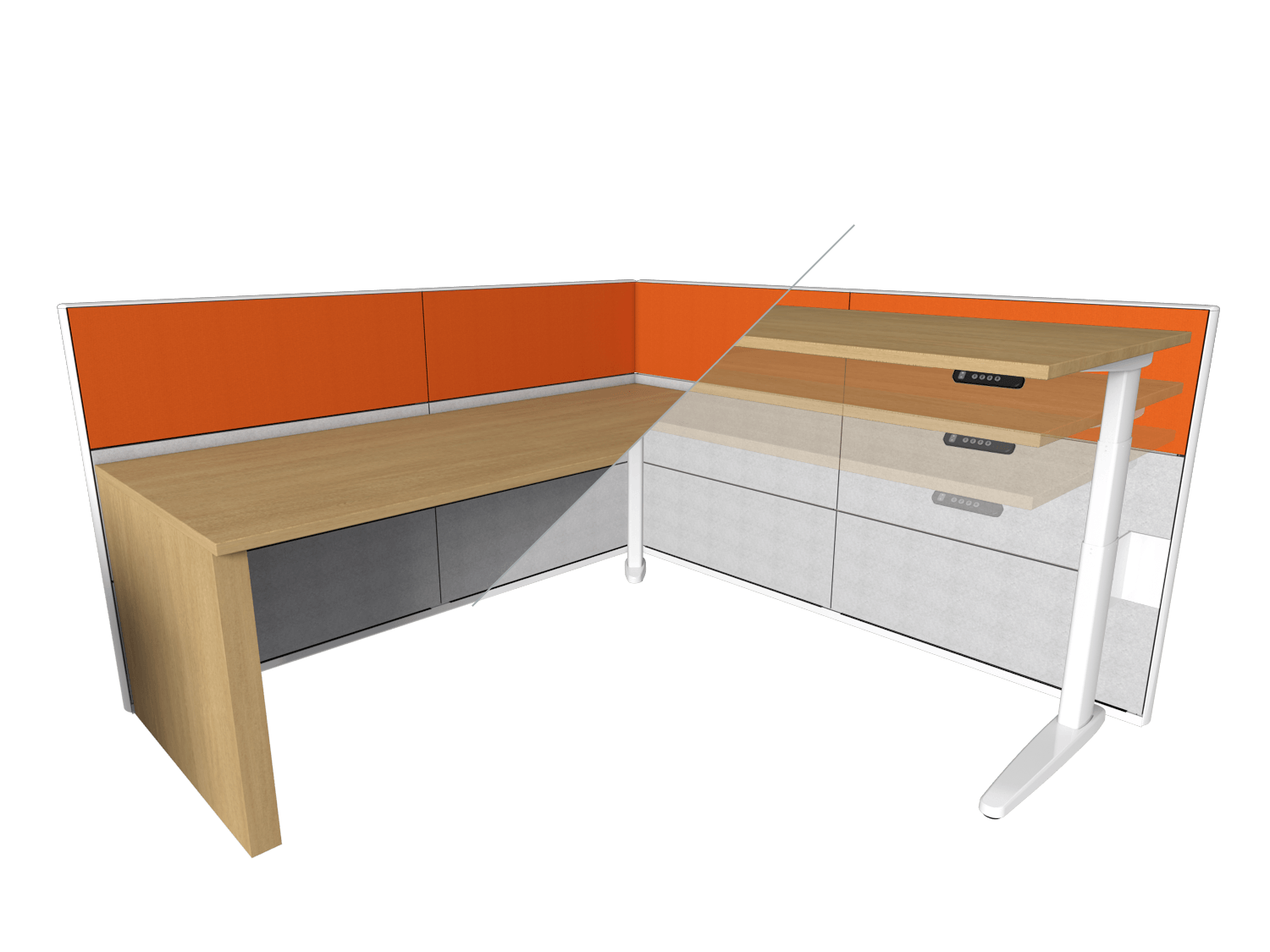 Desk conversion from traditional desk to sit-stand desk