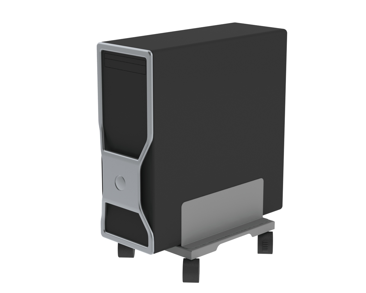 Traveller under desk CPU holder with wheels for movement of PC