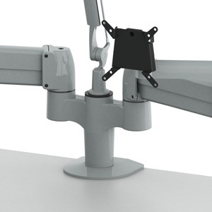 Double SpaceArm monitor arm with a WAVE LED desk lamp mounted between the monitor arms