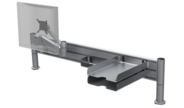 Platinum SpaceBeam tool rail with In-Out paper tray desk accessory