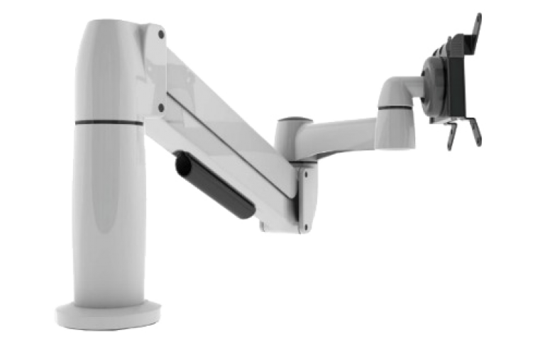 Side view of single white SpaceArm monitor arm