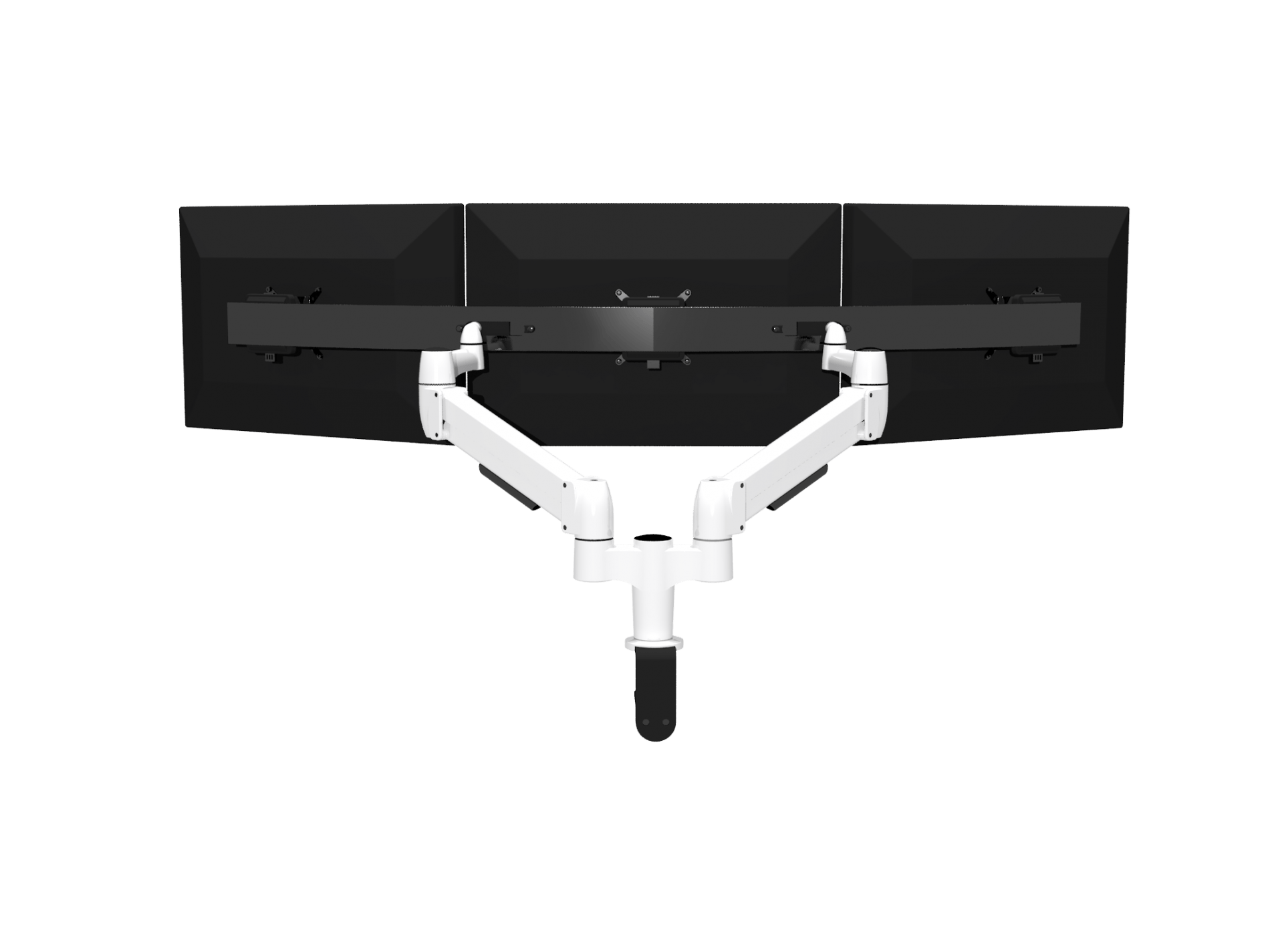 Double SpaceArm monitor arm with Multi-Mount and three monitor screens