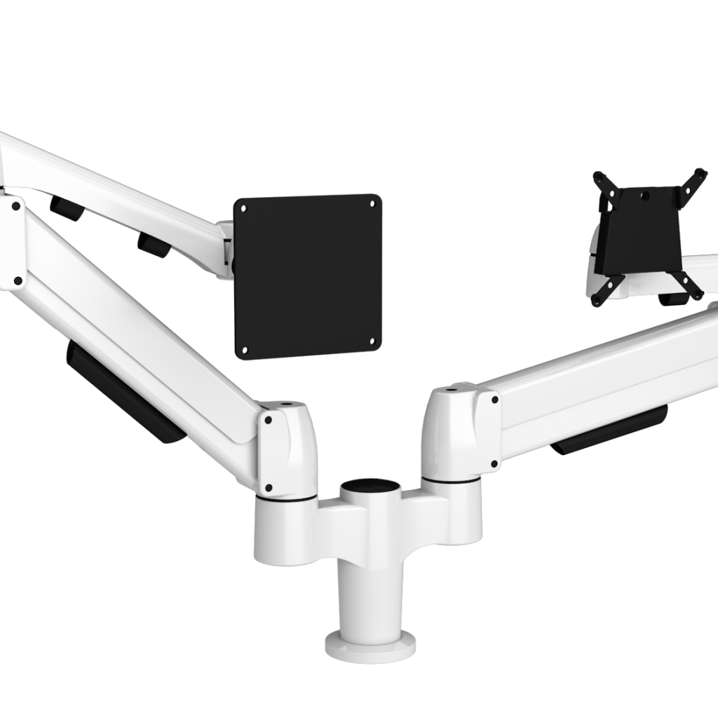 White double mount with one SpaceArm monitor arm and one Flyt touchscreen monitor arm