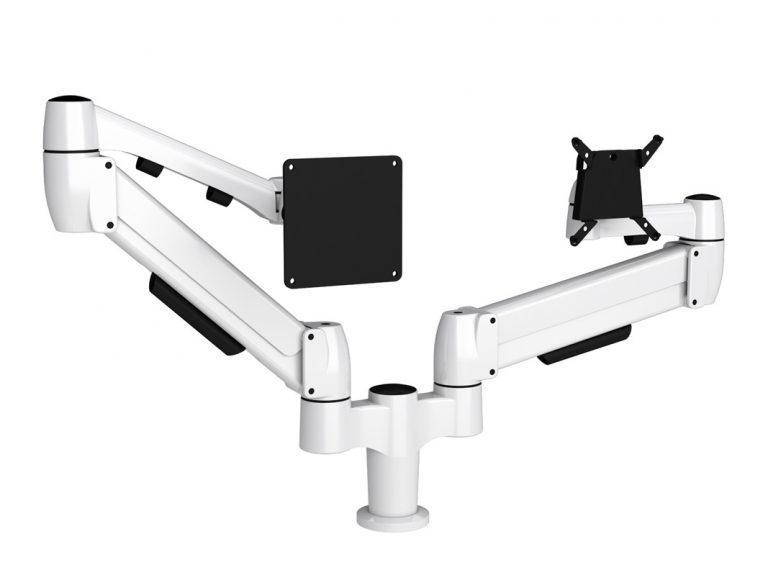 White double monitor arm with one SpaceArm monitor arm and one Flyt touchscreen monitor arm
