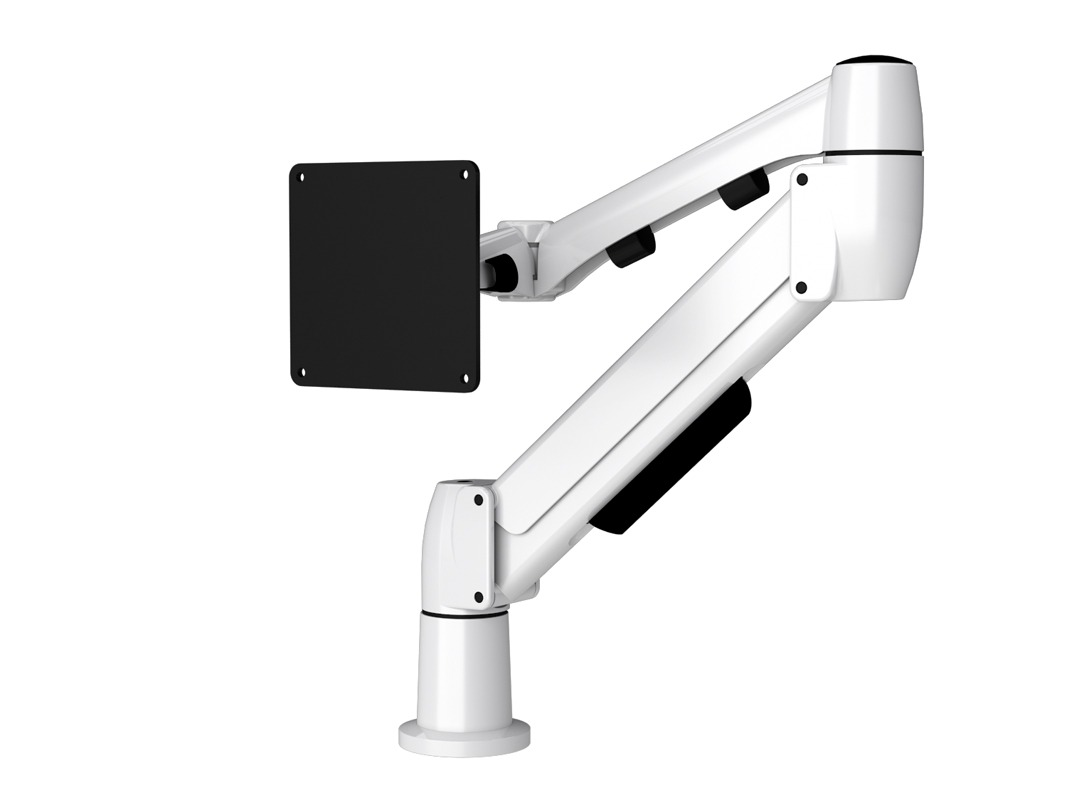 White Flyt touchscreen monitor arm in folded position