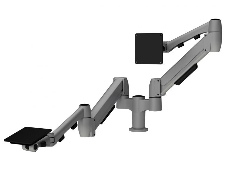 Platinum double monitor arm with one SpaceArm monitor arm and one Flyt touchscreen monitor arm