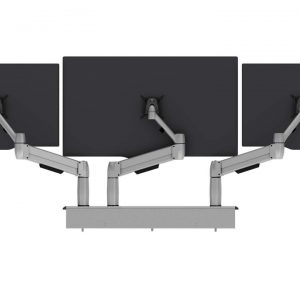 Back view of Multi-Flex with three white single SpaceArm monitor arms with three monitor screens