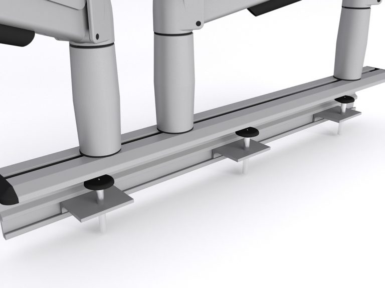 Close up of two monitor arm fixed to Multi-Flex
