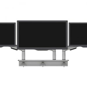 Multi-Flex with three platinum single SpaceArm monitor arms with three monitor screens