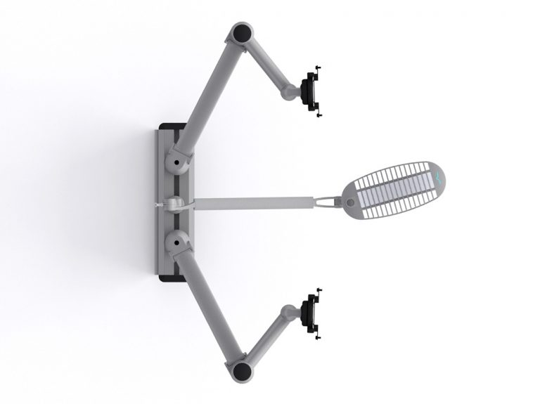 Multi-Flex with two white single SpaceArm monitor arms and one WAVE LED lamp