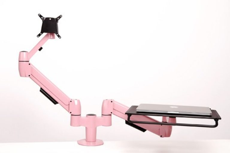 Pink double SpaceArm monitor arm one with quick release VESA mount and one with laptop platform