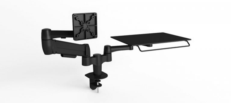 Black double SpaceArm monitor arm with one VESA mount and one laptop platform