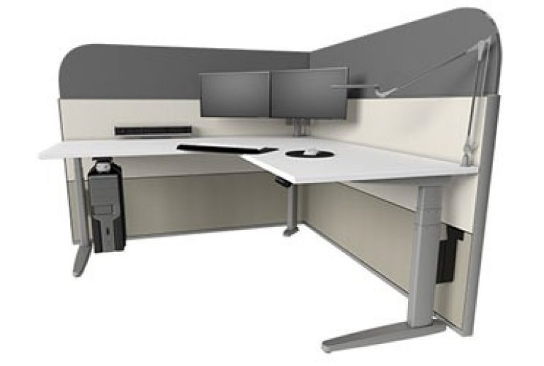 Corner sit-stand desk with acoustic panels, a double SpaceArm monitor arm and under desk CPU holder