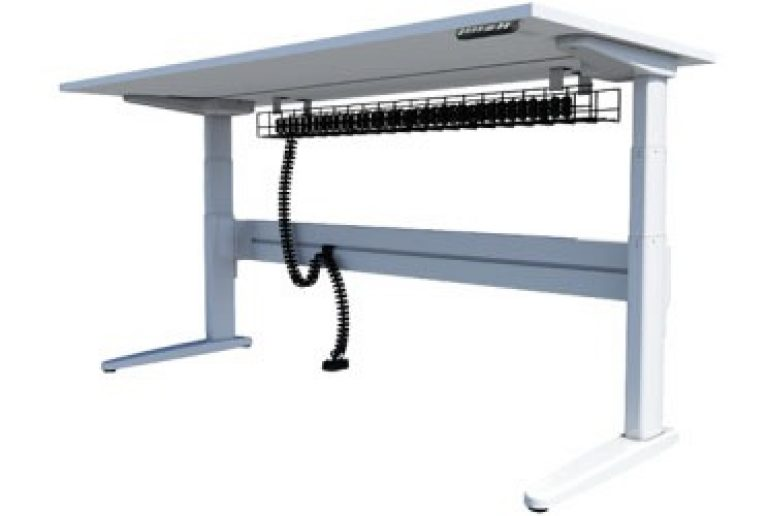 Straight sit-stand desk with under desk cable management