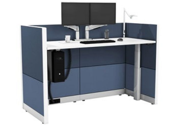 Straight sit-stand desk with blue acoustic panels, two SpaceArm monitor arms, a LED WAVE lamp and under desk CPU holder