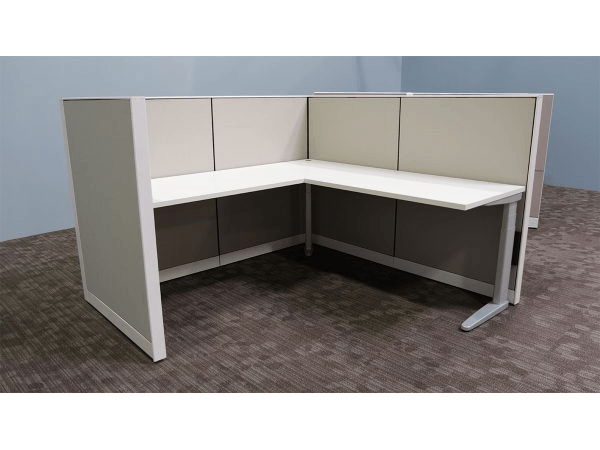 Corner sit-stand desk with acoustic panels