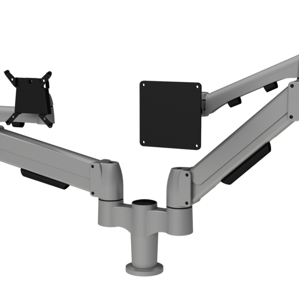 Double SpaceArm and Flyt monitor arm