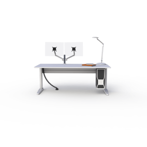 Straight white sit-stand desk with double PoleArm monitor arm, under desk CPU holder and WAVE LED lamp