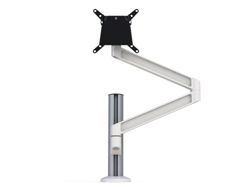 White PoleArm monitor arm with quck release VESA mount