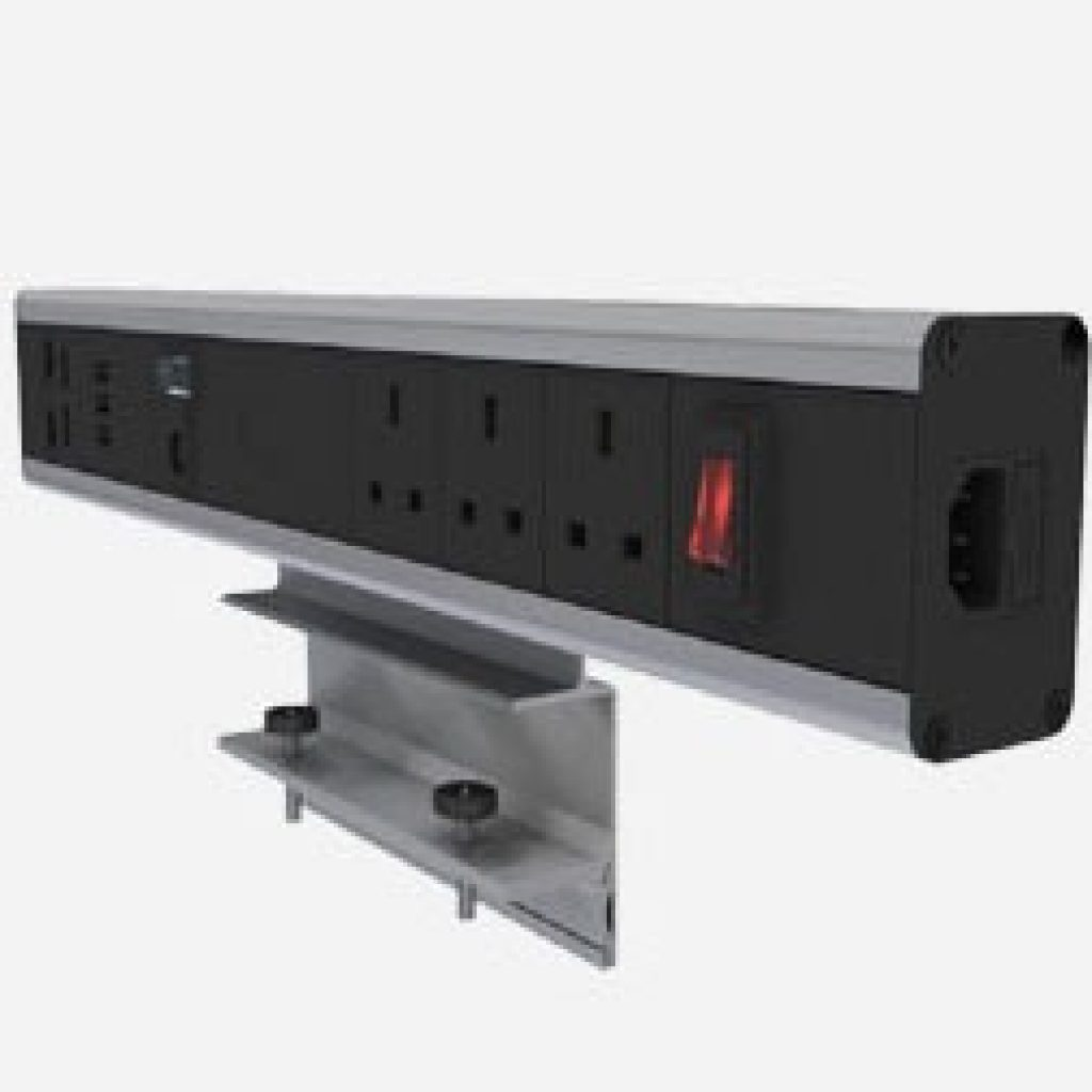 Modular power outlet with sockets, ethernet ports, laptop adapter and USB port