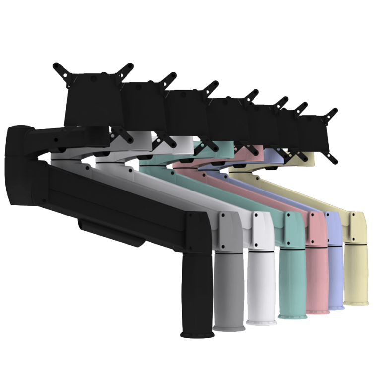 SpaceArm monitor arm in standard black, platinum and white and bespoke colours of green, pink, purple and cream