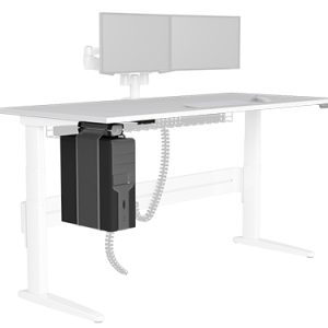 Under desk Elevator CPU holder with PC and fixed to underside of sit-stnad desk