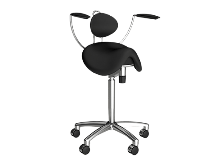 Ergonomic height adjustable chair with back and arm support and wheels