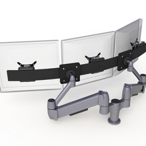 Double SpaceArm monitor arm with Multi-mount for three screens