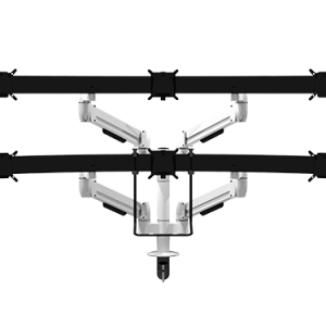 Two tier double SpaceArm monitor arms with two multi-mounts with VESA mounts for six monitor screens