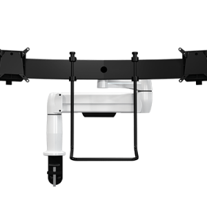 Single SpaceArm monitor arm with Multi-Mount and two quick release VESA mounts