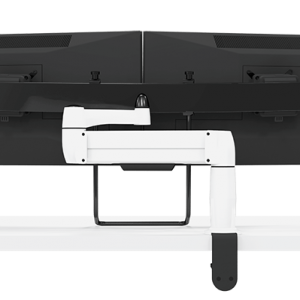 Rear view of single SpaceArm monitor arm with Multi-Mount and two screens