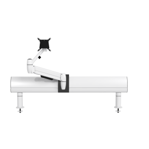 Single white SpaceArm monitor arm mounted and SpaceBeam tool rail