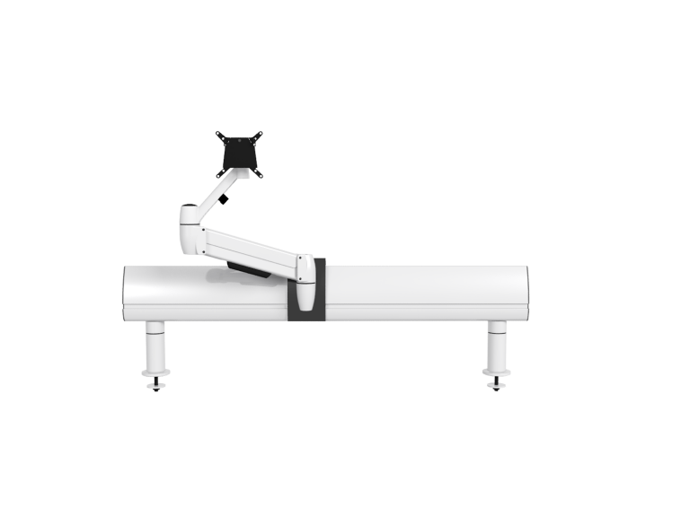 Single white SpaceArm monitor arm mounted and SpaceBeam tool rail