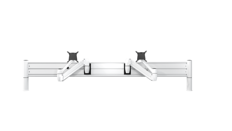 Two white SpaceArm monitor arms mounted on a SpaceBeam tool rail