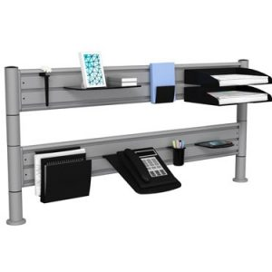 Two tier platinum SpaceBeam tool rails with desk shelves and telephone tray