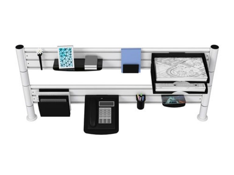 Two tier white SpaceBeam tool rail with desk shelves and telephone tray