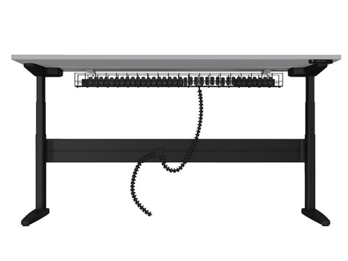 Freestanding straight sit-stand desk with under desk cable management