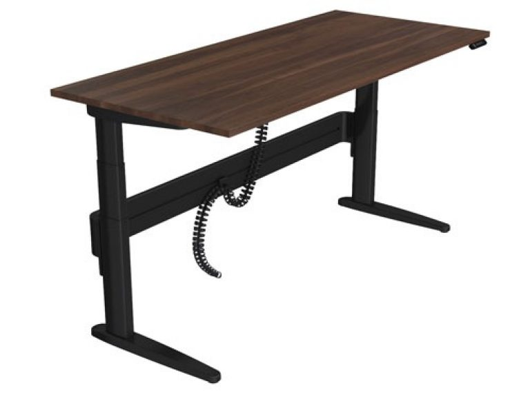 Freestanding straight sit-stand desk with black legs and dark wood desk top