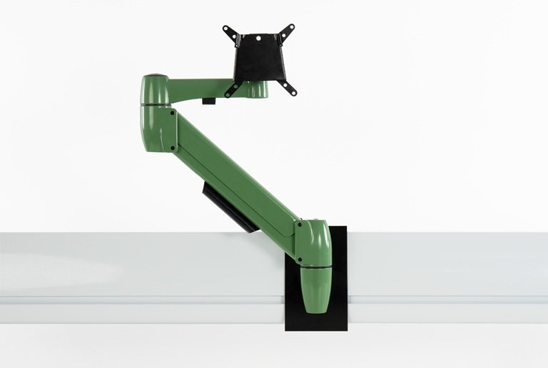 Bespoke green colour single SpaceArm monitor Arm mounted to Spacebeam toolrail
