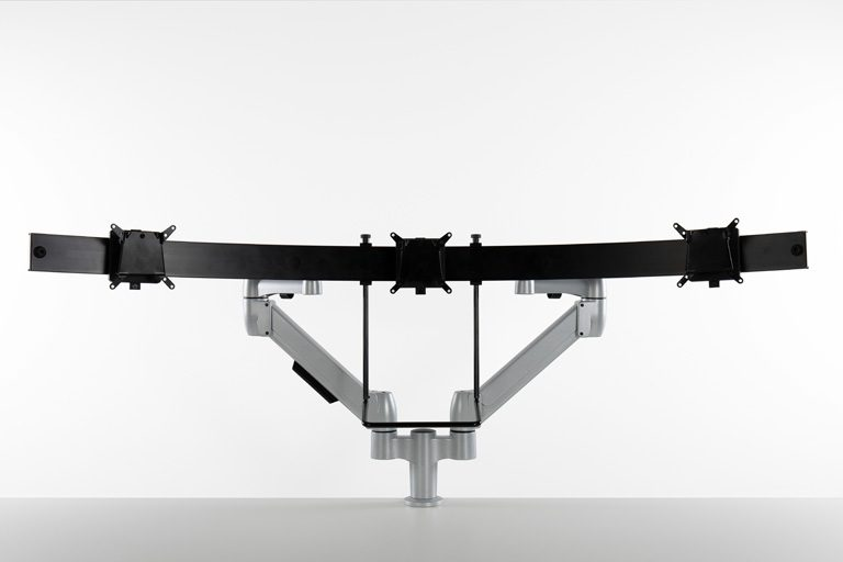 Multi-Mount fixed to two SpaceArm monitor arms allowing you to align multiple monitors